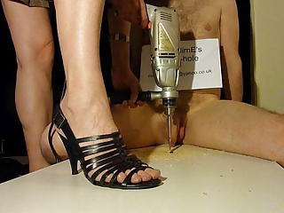 Dishonest bushwa crush footjob with strappy high heels (shoejob)