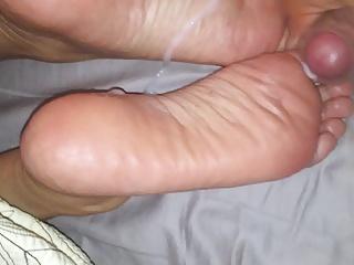 Part 1. cum on soles, rubbing it in