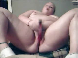 Fat BBW Ex GF masturbating her Buxom Scruffy Left-hand Pussy