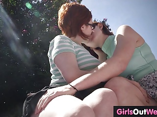 Cute redheaded lesbians with hairy pussies meet and fuck