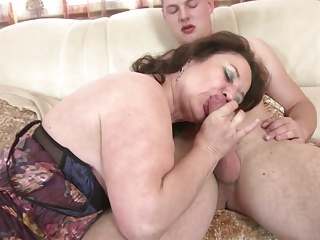 Mature mom and wife seduces young yowl her son