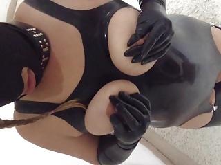 Latex slut tie the knot milking her tits slave