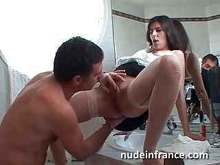 Amateur housewife banged increased by analyzed round a bathroom