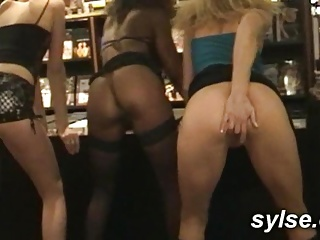 Flashing added to Orgy with 3 MILFs in Sexshop