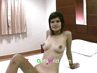Skinny Thai with natural globes fucked bareback