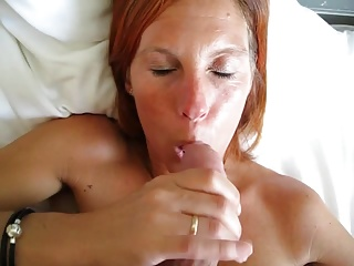 Cute Danish redhead at abode sucking
