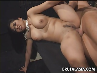 Fantastic chubby titty brunette Asian mesmerizer acquiring anal f