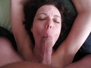 Handcuffed Dutch milf sucks a big cock and swallows cum