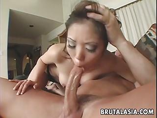 Asian flannel gobbler sucking on a fella then fucking him