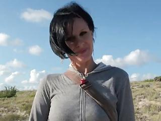 Corpulent french Christelle gangbang on the beach