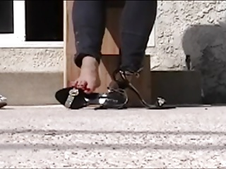 shiny shoes and bare feet,