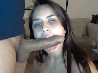 Phat Curvy Slut deepthroats 8 inch cock
