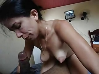 SKINNY MEXICAN WITH POINTY TITS SUCKS COCK