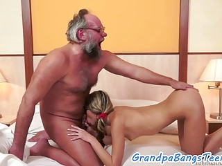 Cockriding euro pleased by old mans dick