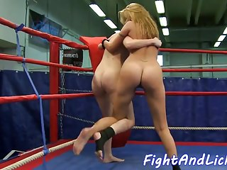 Spectacular dykes pleasured after catfight