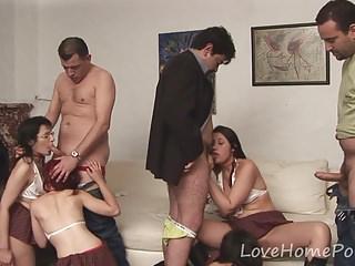 Hermaphrodite schoolgirls dote on banging apropos an orgy
