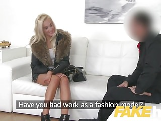 Fake Agent Euro non-specific loves giving tit wank coupled with blowjob