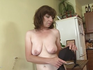 Amateur mother connected with saggy tits and very hairy pussy