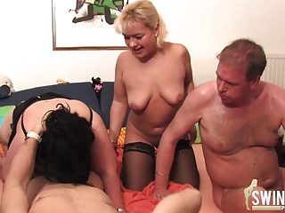 Groupsex with bazaar milf increased by a very heavy girl