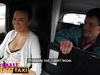 Female Fake Taxi Unabashed passenger loves drivers tits