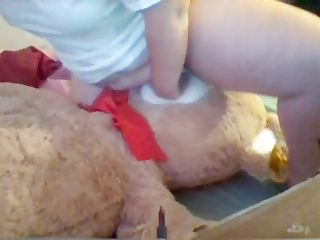 Young Heavy Girl humps giant teddy till orgasm