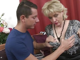 Taboo home coitus with busty matriarch and son