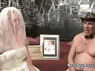 Old fat filthy bride has orgy along on touching bridesmaid