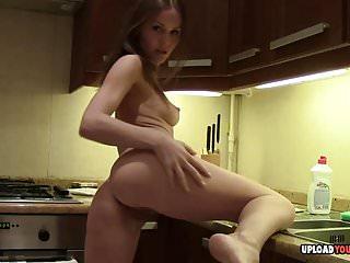Uncompromisingly hot lonley masturbates in the kitchen
