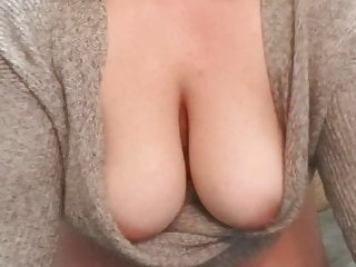 MILF's big natural tits bounce parts of their way sweater