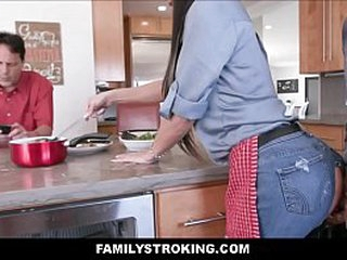 Tattooed Fat Pair Obscurity MILF Show Mom Ripped Jeans Leman Away from Son Next To Dad In Family Kitchen