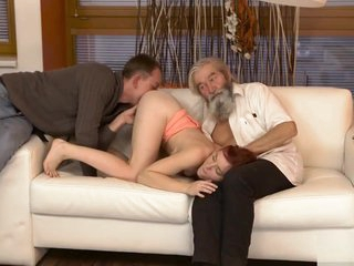DADDY4K. Chick's shaved pussy is fingered off out of one's mind aged guy and son in the matter of personify