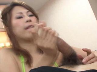 Asian bj babe titfucks and sucks a cock