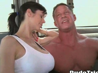 Big tit slut pays straight stud for gay anal