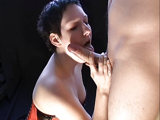 Short Haired Big Tited Girl Cumshot