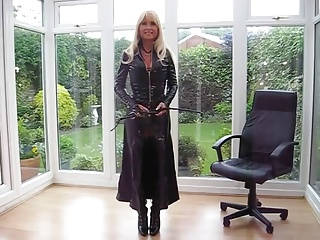 milf in PVC Robe & Fur Lace Up Basque