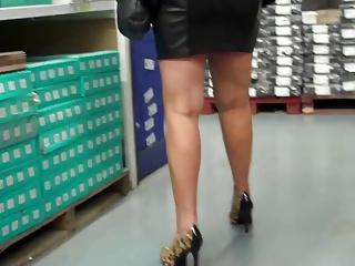 spliced shopping Inky Leather Mini Skirt, Leopard Heels