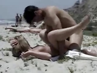 Nude Beach - Perky little pair Blond is caring squarely