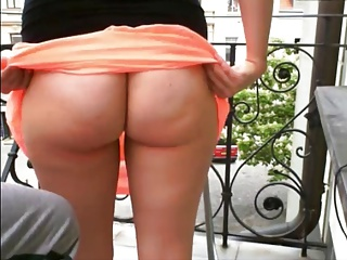 Crazybutter Panties Off Butt Aggravation Pussy on Balcony Voyeur