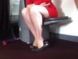Candid Air Stewardess Nylon Frontier fingers Hands together with Shoeplay